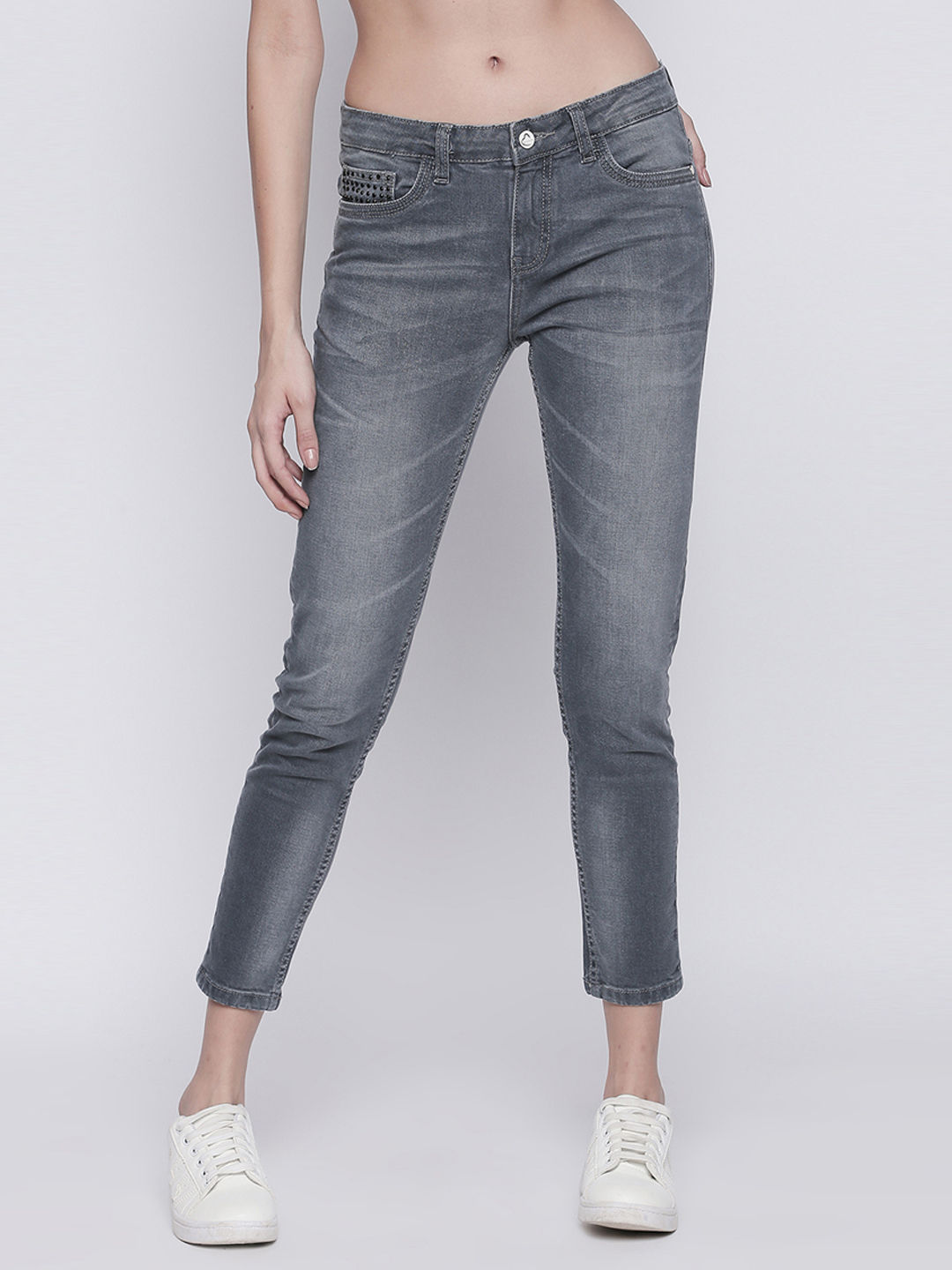 GREY SOLID CROPPED JEANS