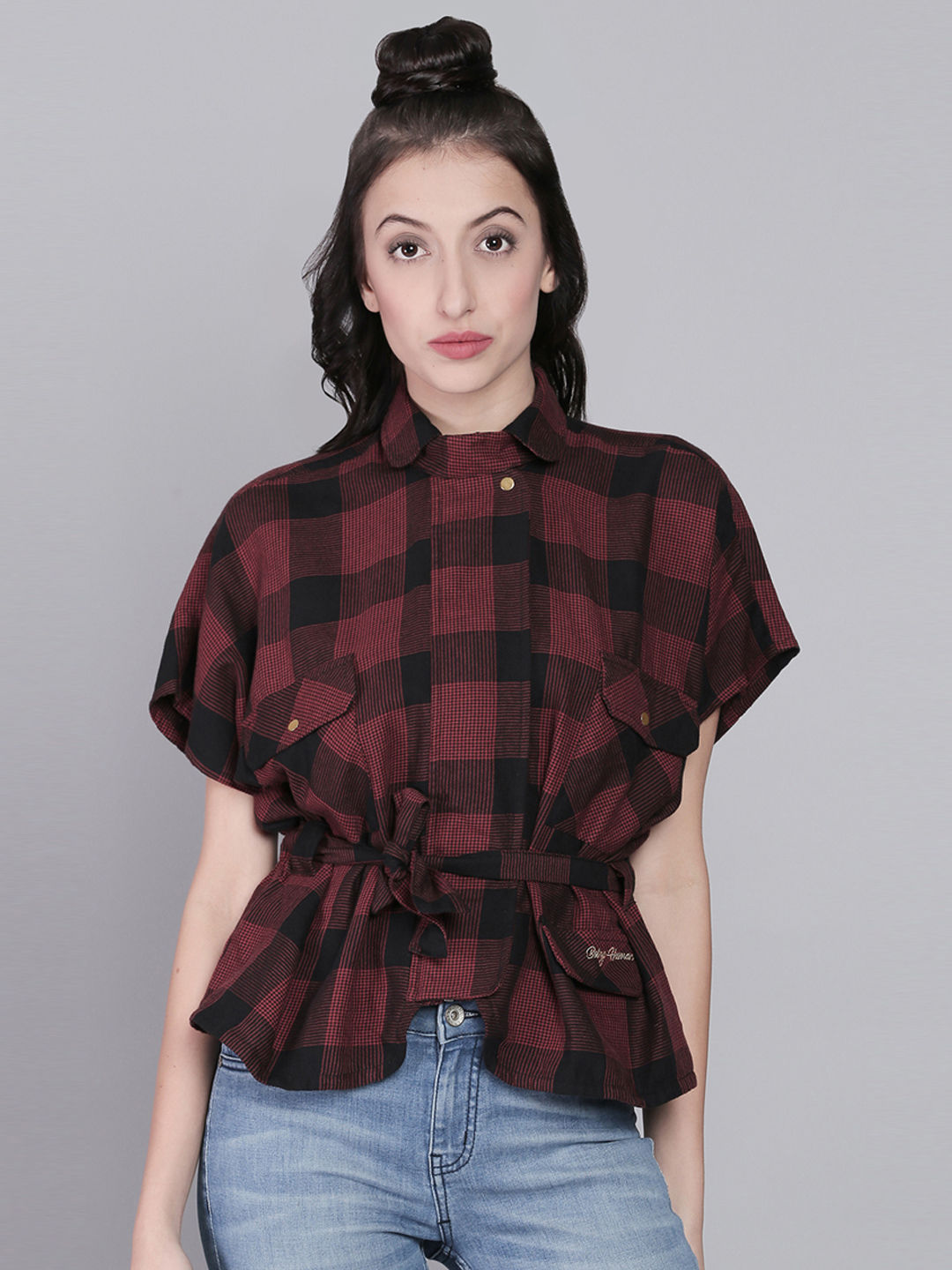 715273c55958 BLACK AND RED CHECKED CASUAL SHIRT