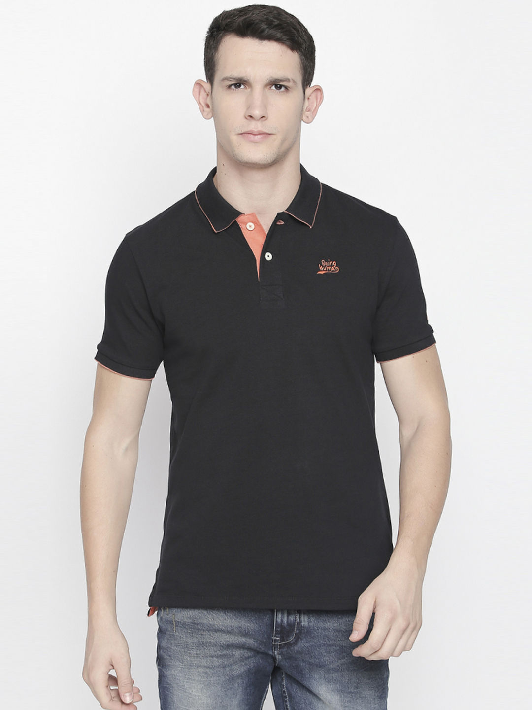 BLACK PRINTED POLO T-SHIRT
