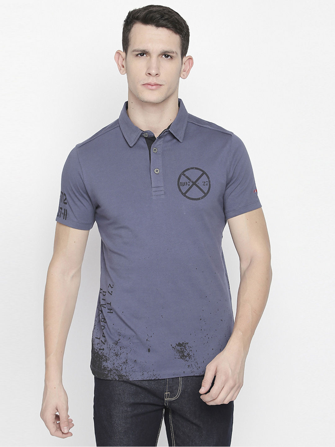 BLUE PRINTED POLO T-SHIRT