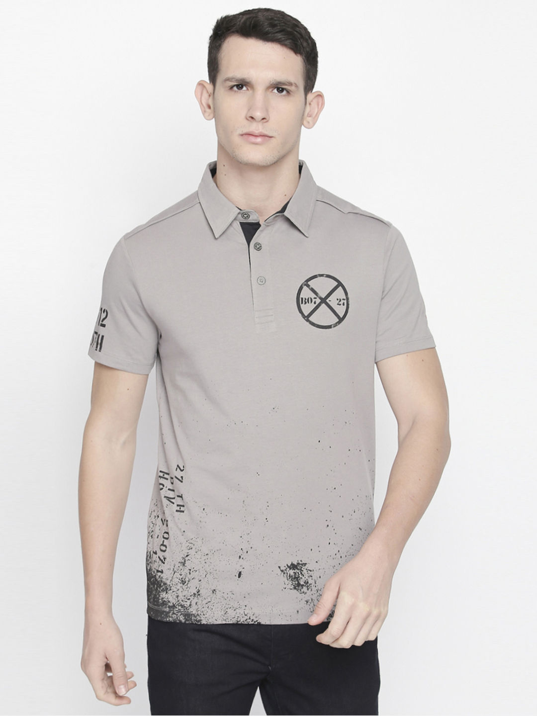 LIGHT GREY PRINTED POLO T-SHIRT