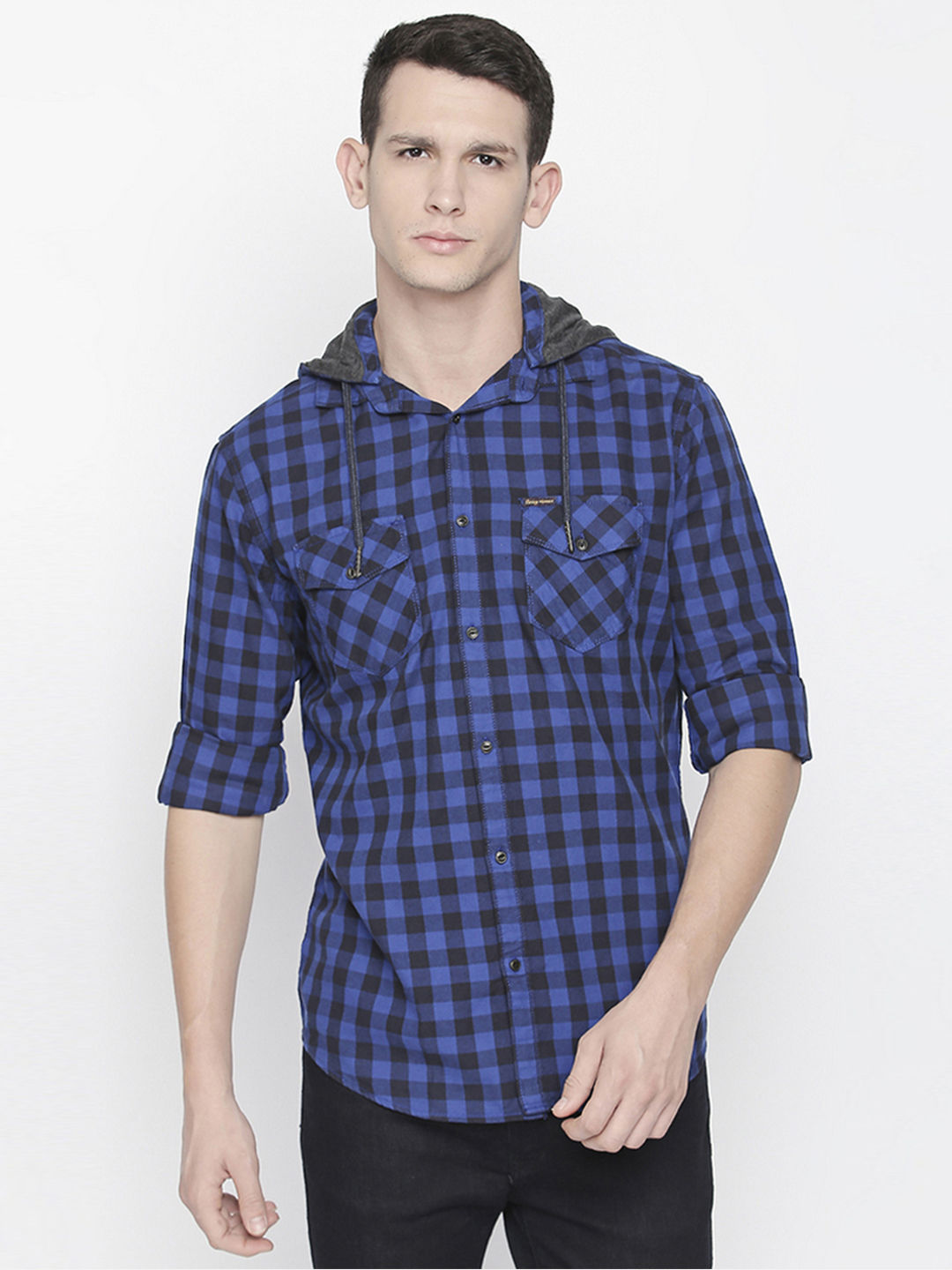 BLUE CHECKED CASUAL SHIRT WITH HOOD