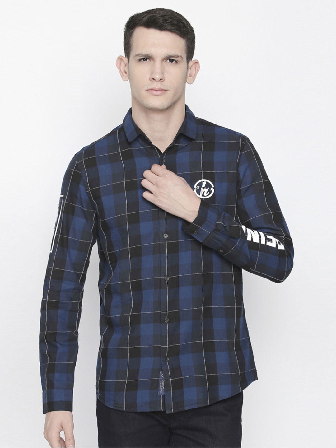 BLUE AND BLACK CHECKED CASUAL SHIRT