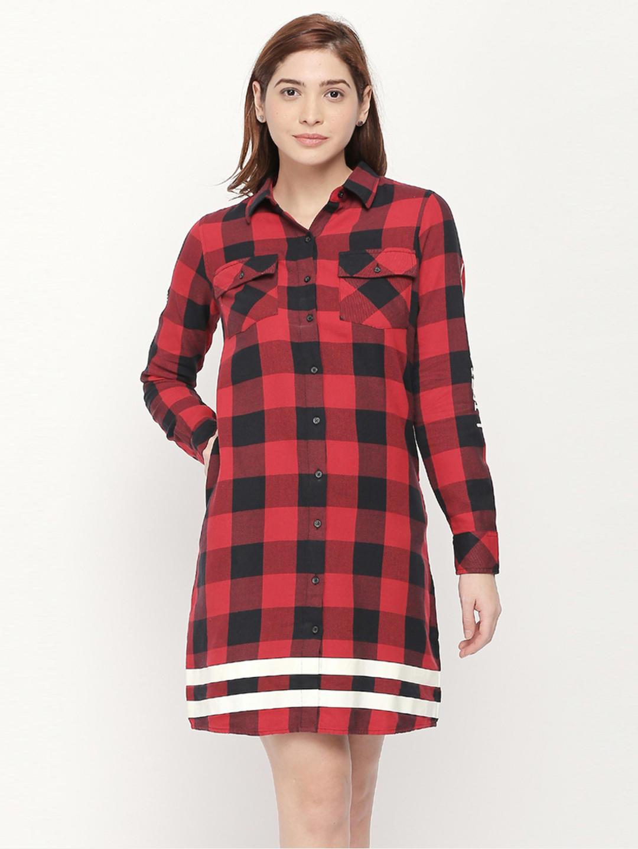 DEEP RED CHECKED SHIRT DRESS