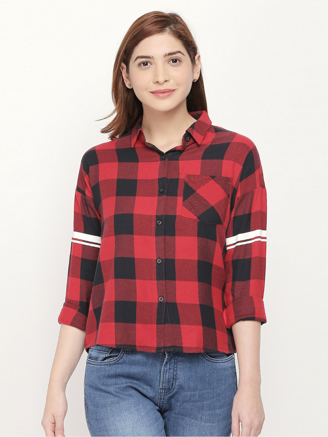 DEEP RED CHECKED CASUAL SHIRT
