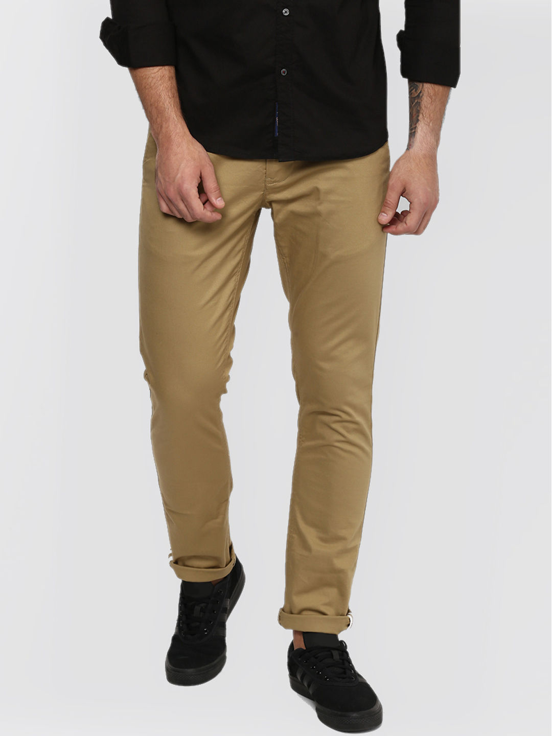 DARK KHAKI SOLID STRAIGHT CHINOS