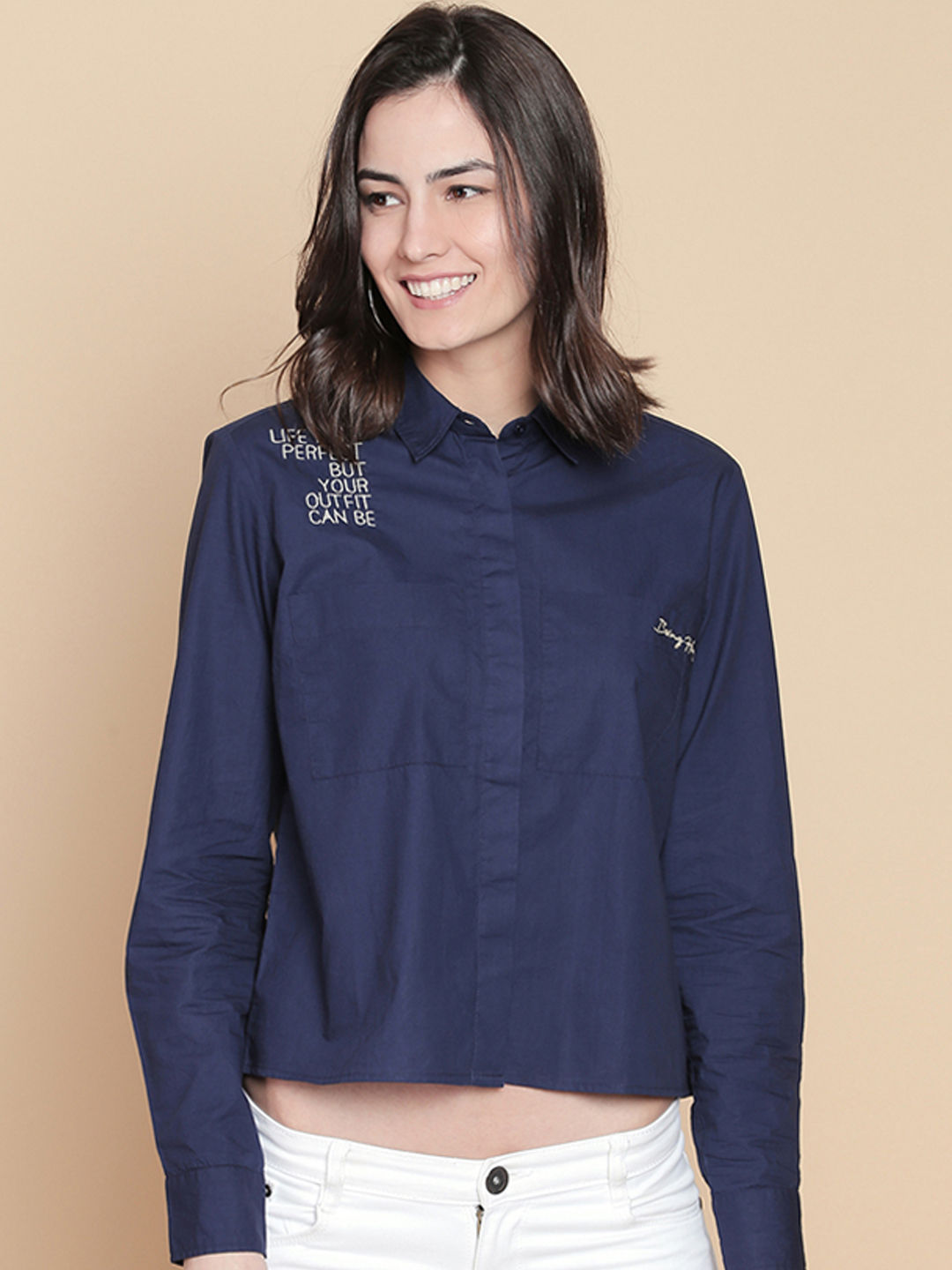 NAVY SOLID CROP CASUAL SHIRT