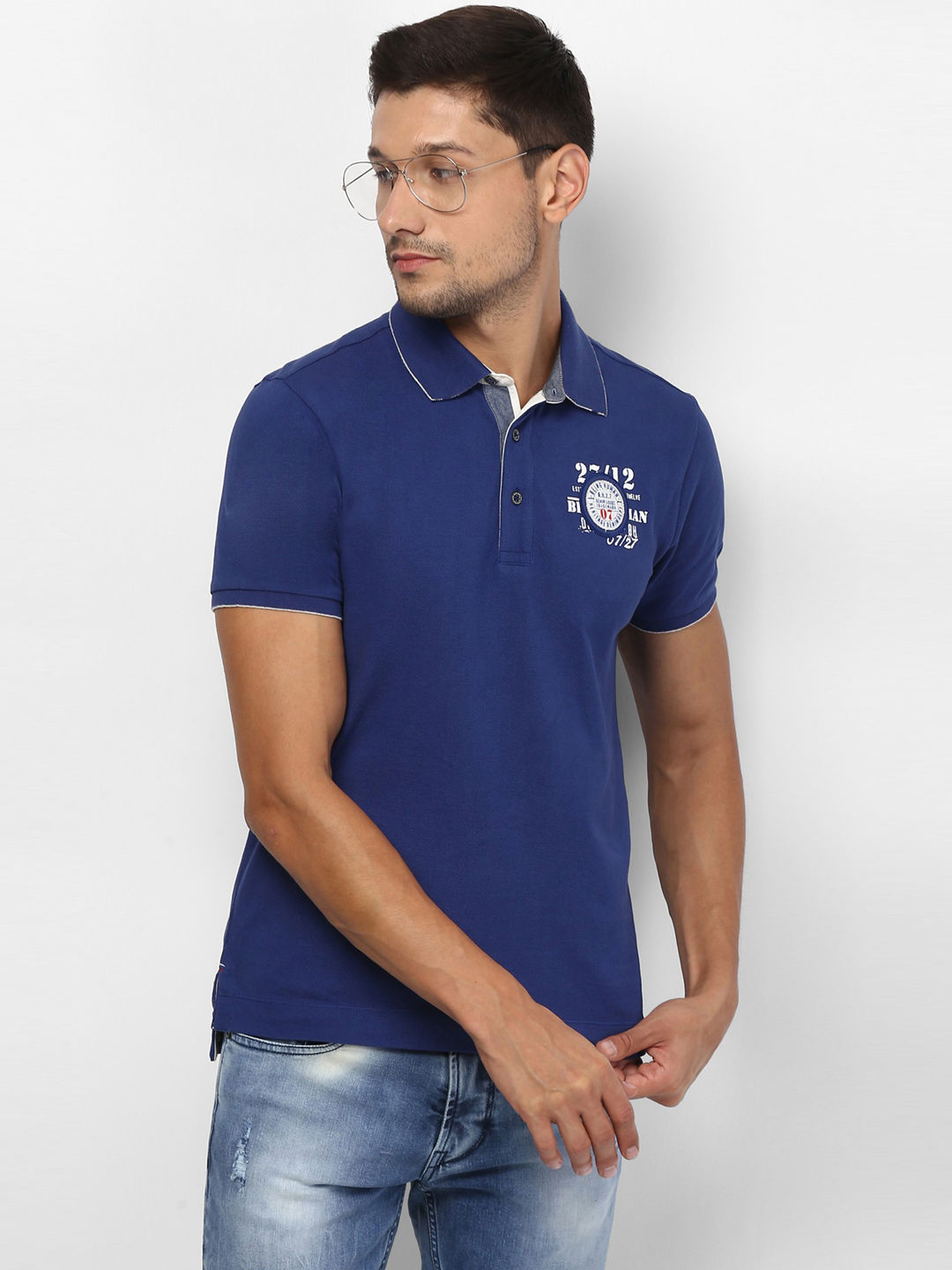 DARK ROYAL BLUE SOLID POLO T-SHIRT