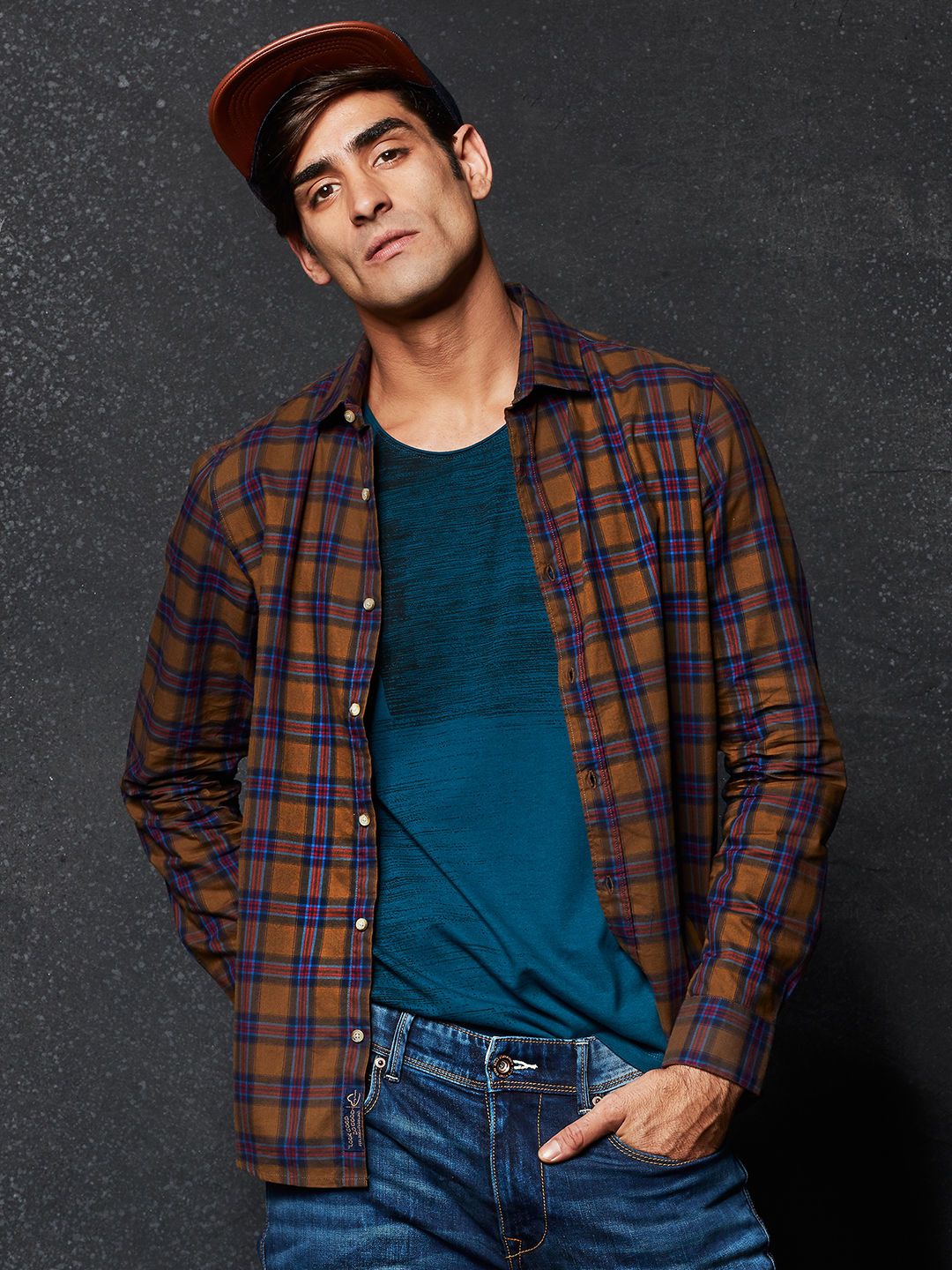 d19a2c8c8f BROWN CHECKED CASUAL SHIRT