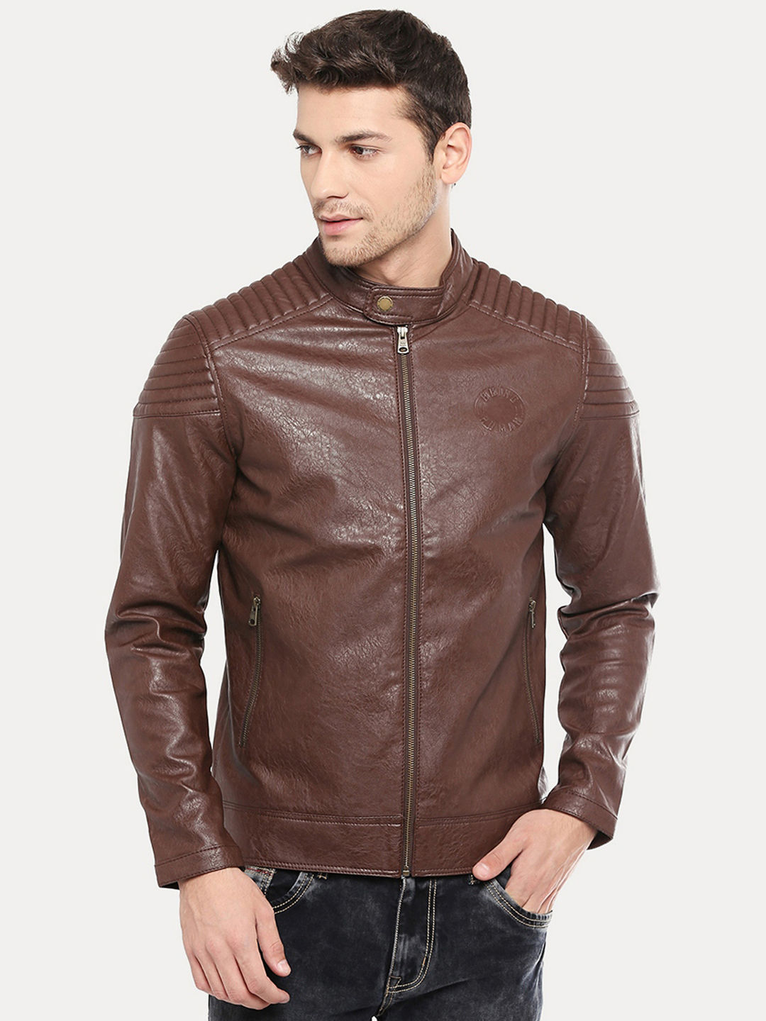 FAUX LEATHER BIKER JACKET WITH QUILTED DETAILS