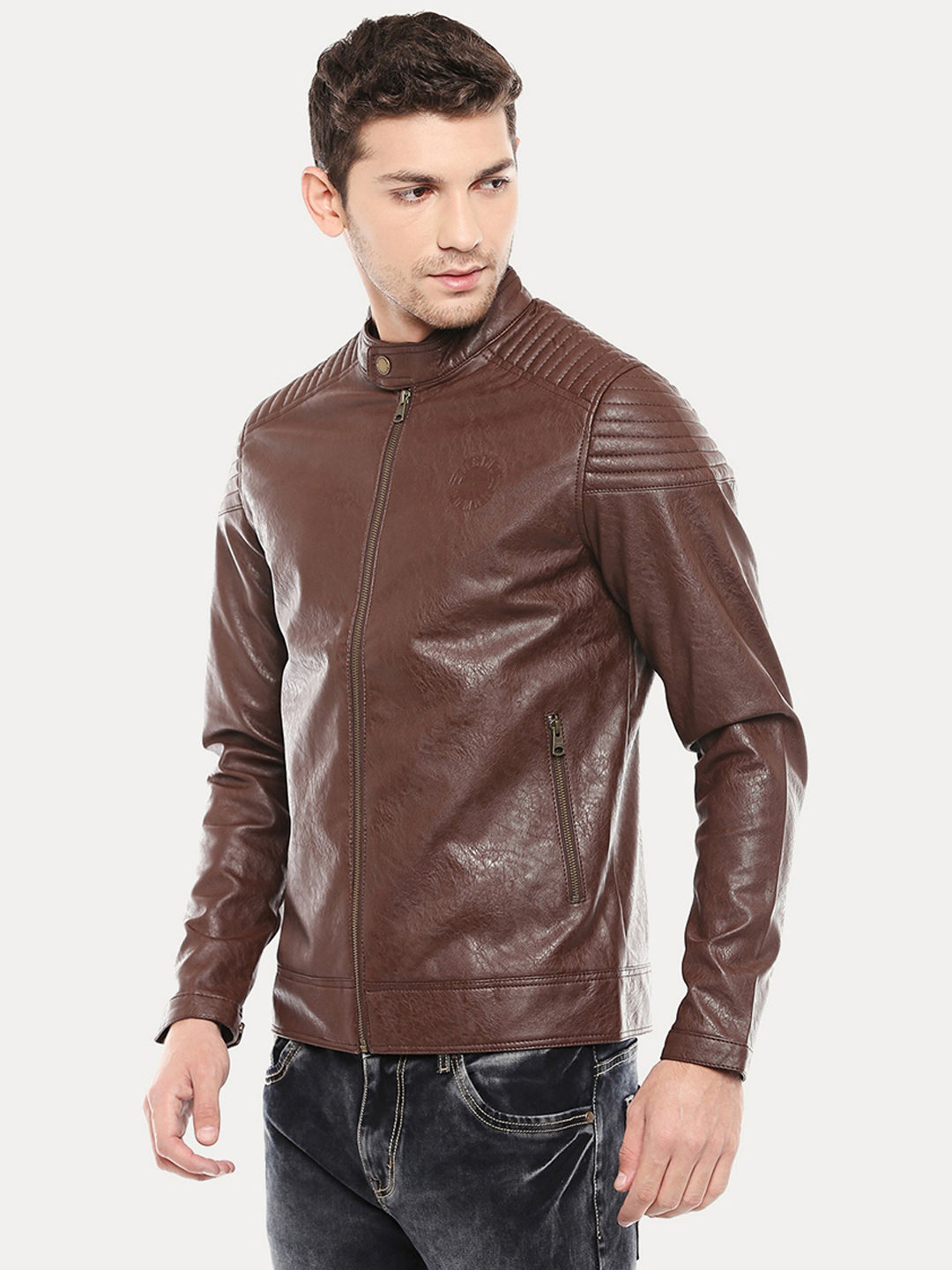 ed4ec38d3021e FAUX LEATHER BIKER JACKET WITH QUILTED DETAILS