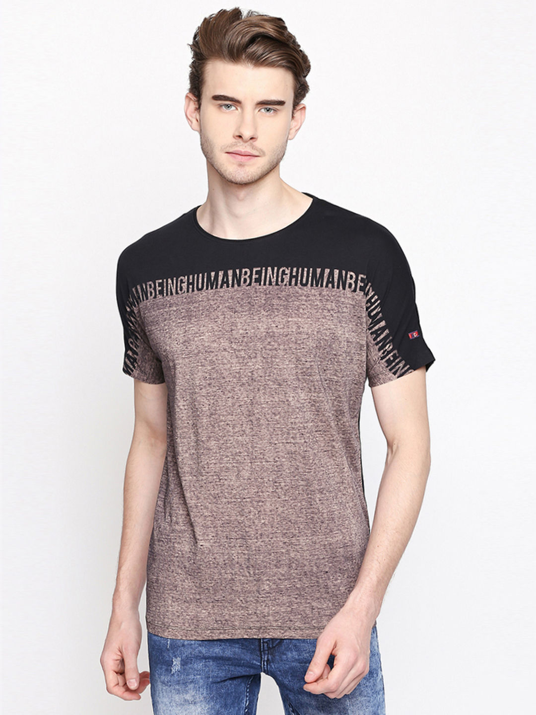 BLACK AND BROWN MELANGE T-SHIRT