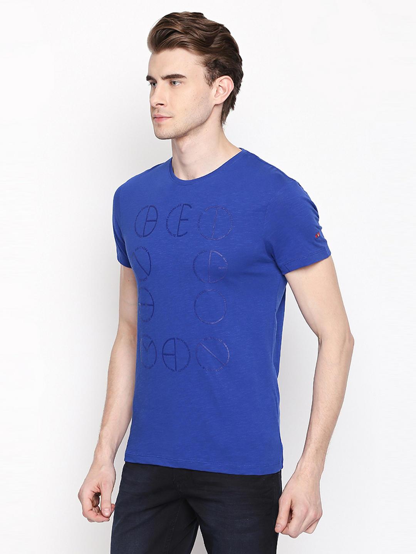 866d9f9d318 BLUE SOLID T-SHIRT