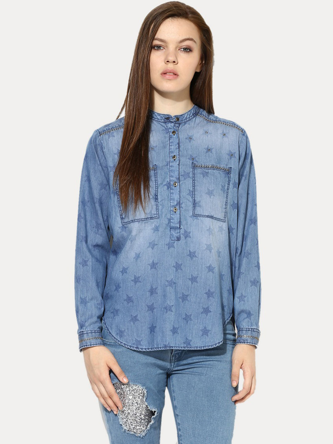 MID BLUE PRINTED CASUAL SHIRT
