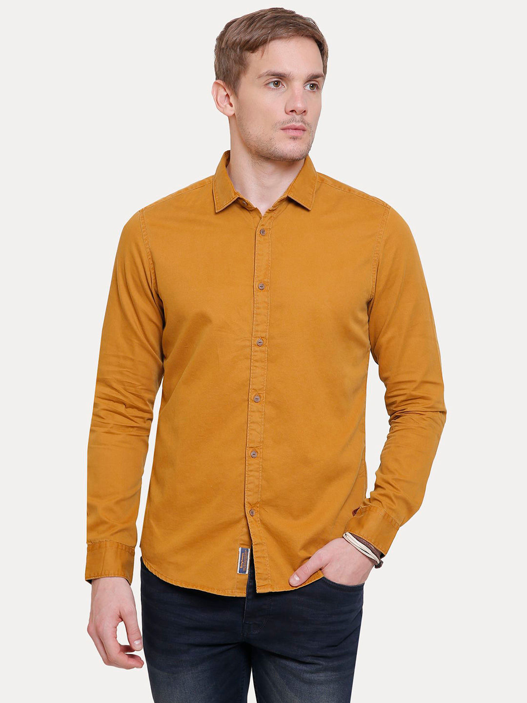 25d0f4cd85819e MUSTARD SOLID CASUAL SHIRT