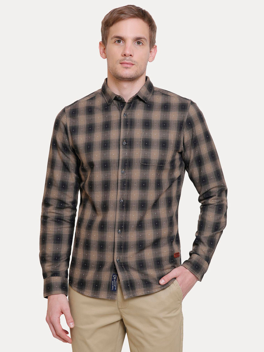 BEIGE AND BLACK PRINTED CASUAL SHIRT