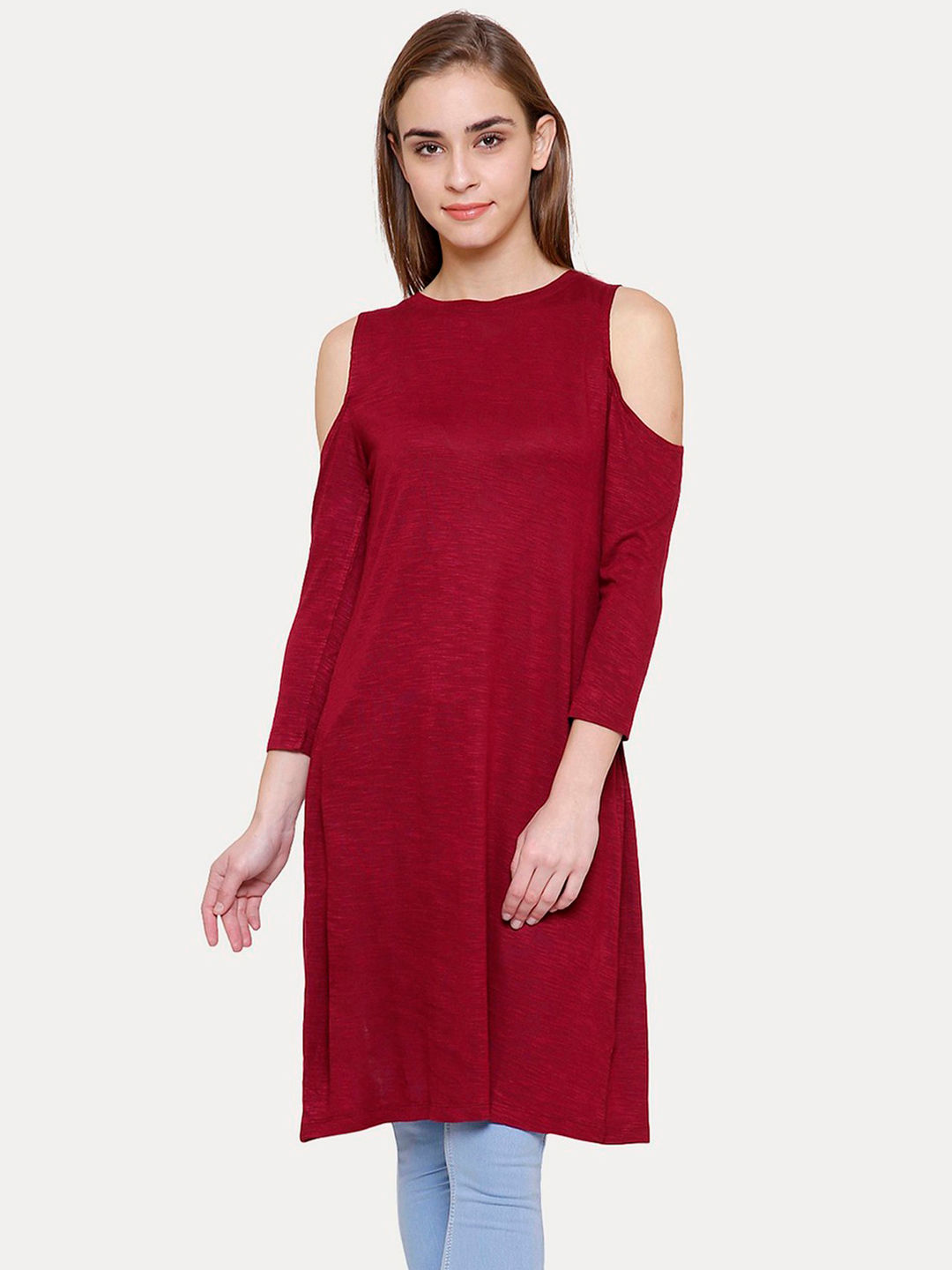 MAROON SOLID SHIFT DRESS