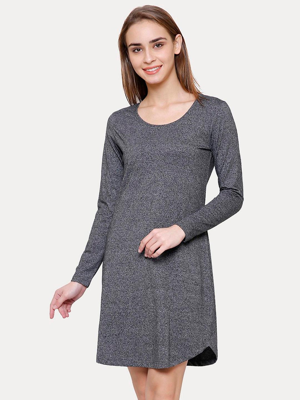 CHARCOAL MELANGE SHIFT DRESS