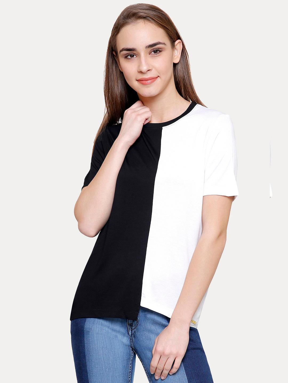 BLACK AND WHITE COLOURBLOCK T-SHIRT
