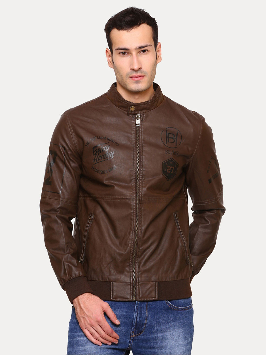 BROWN SOLID LEATHER JACKET