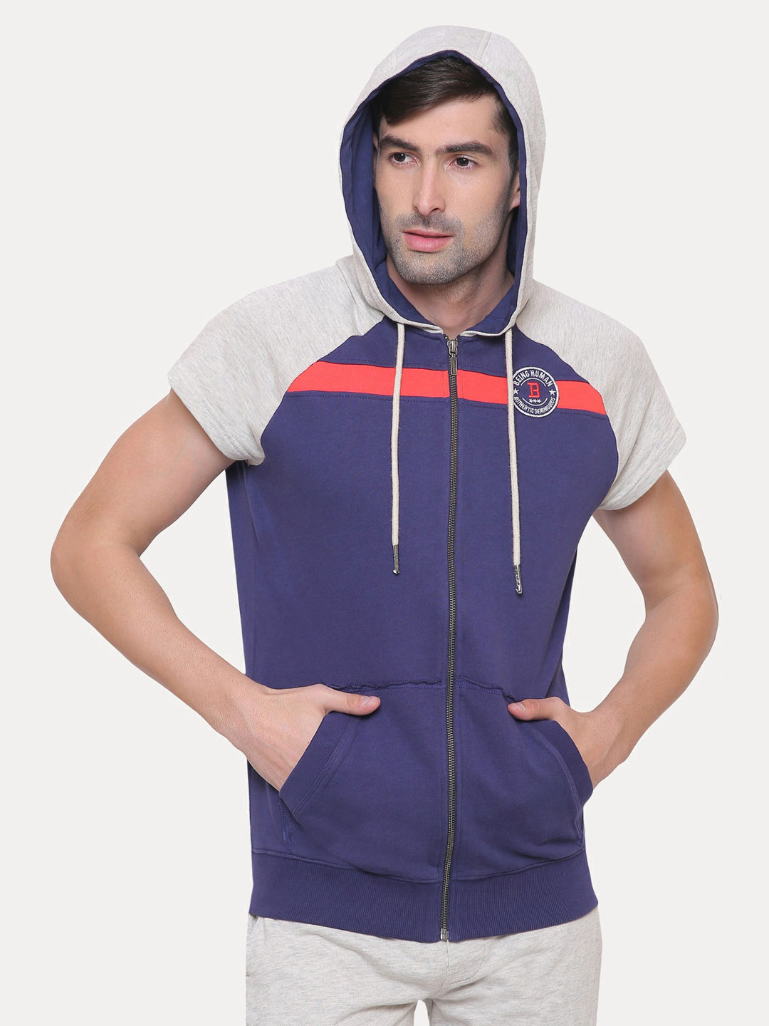 BLUE AND GREY COLOURBLOCK HOODIE