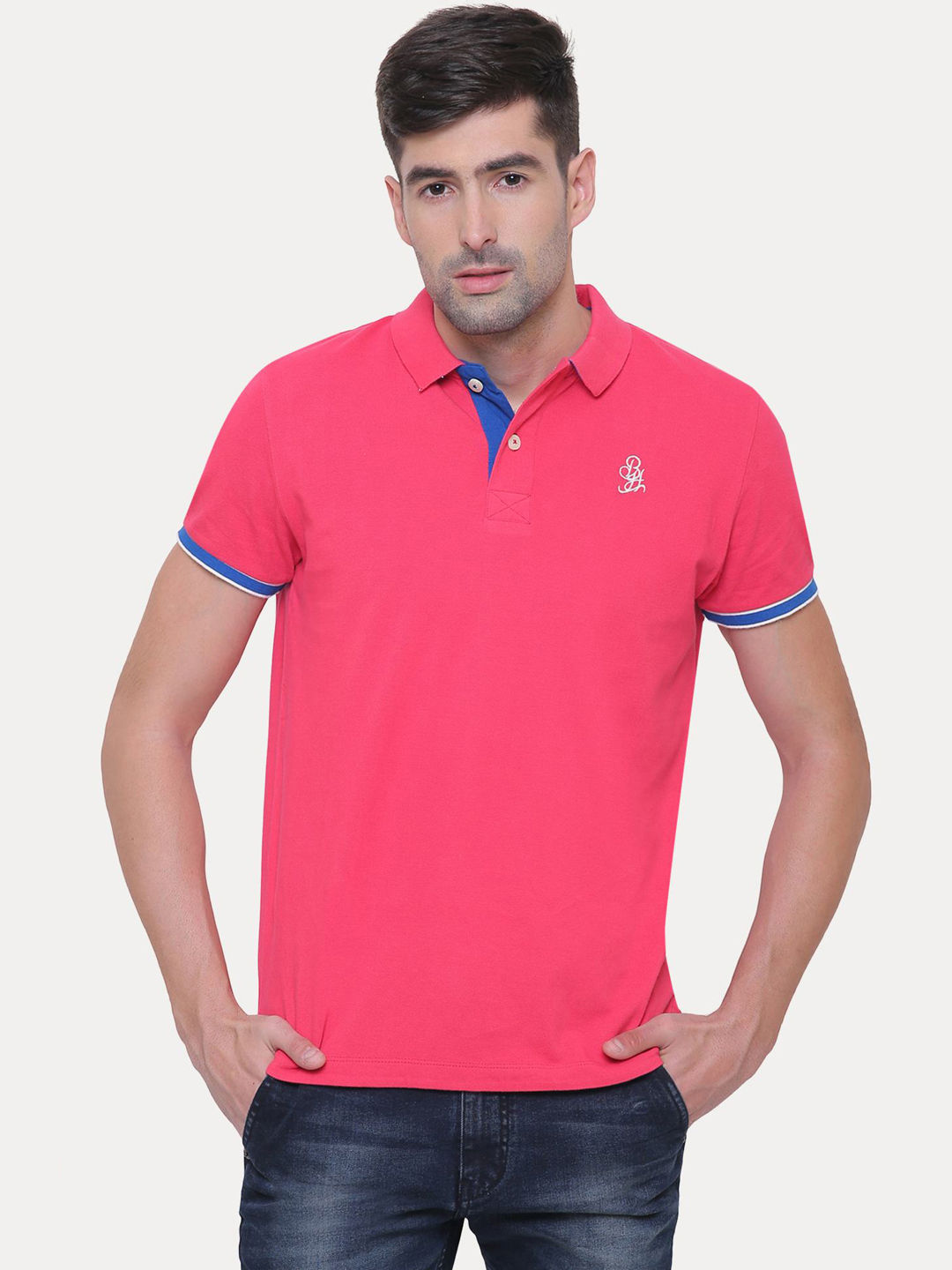 FUCHSIA SOLID POLO T-SHIRT