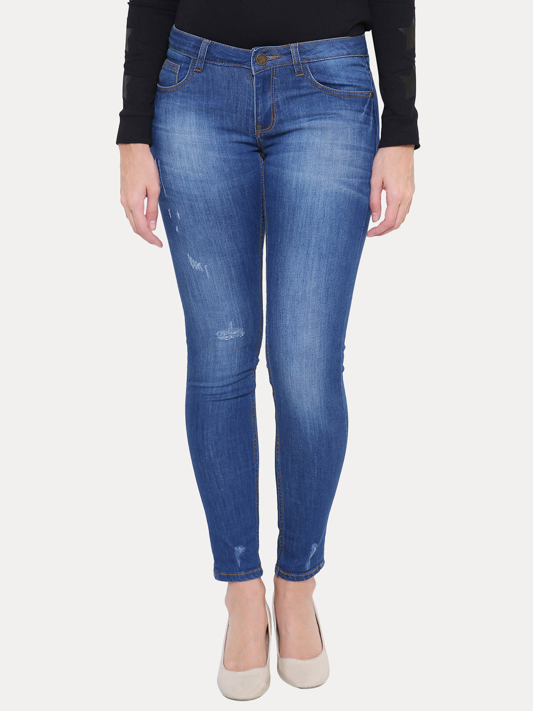 BLUE SOLID SKINNY JEANS