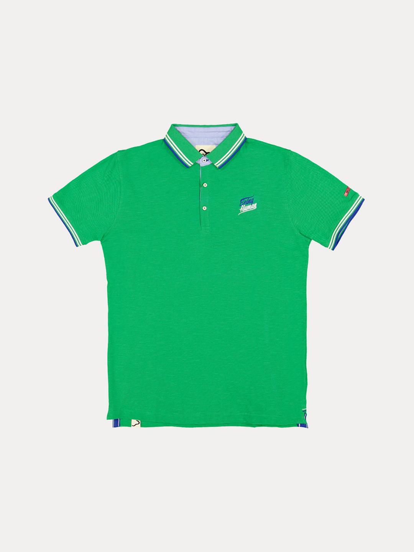 GREEN MELANGE POLO T-SHIRT