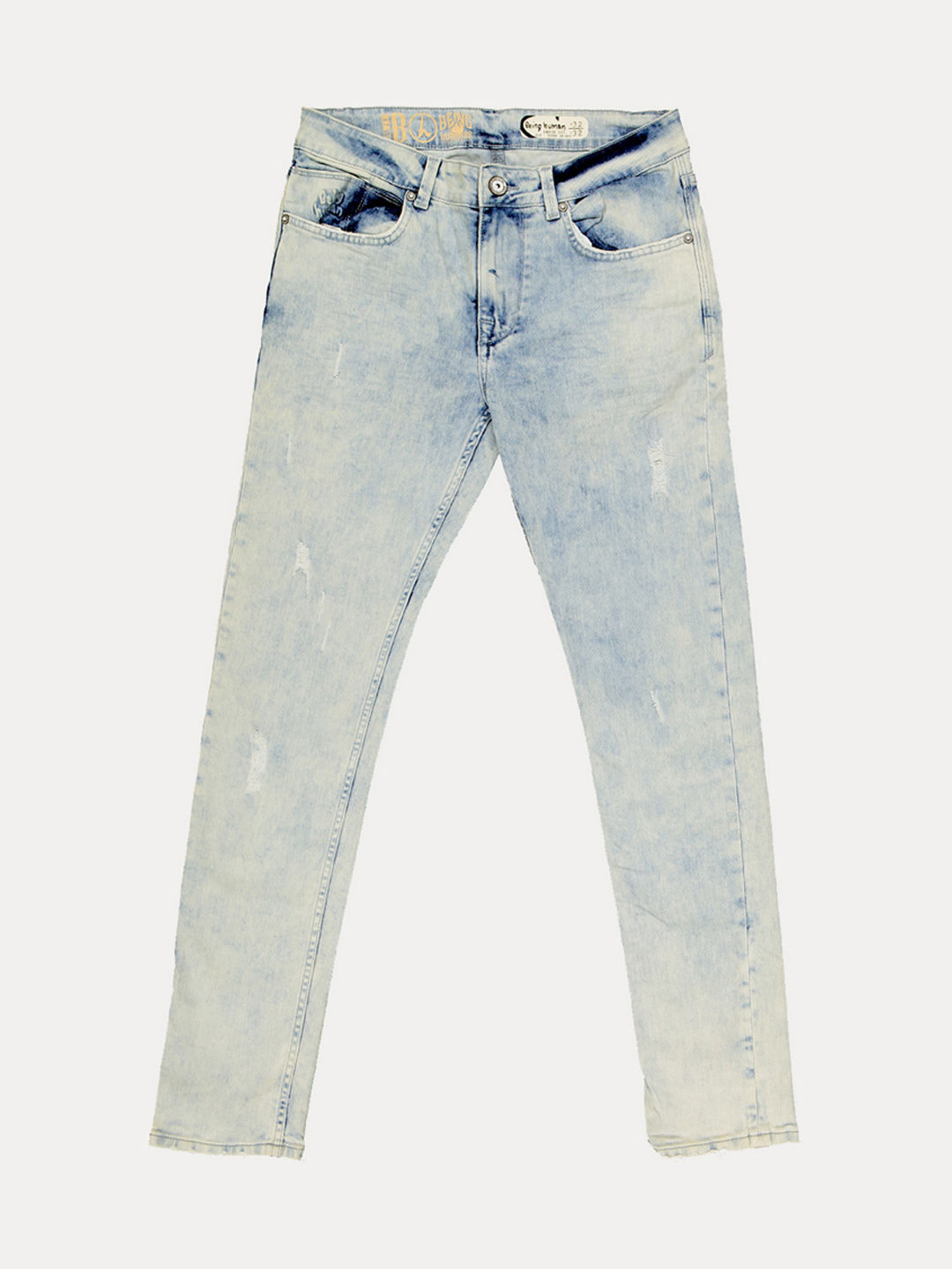 BLUE SOLID CROPPED JEANS