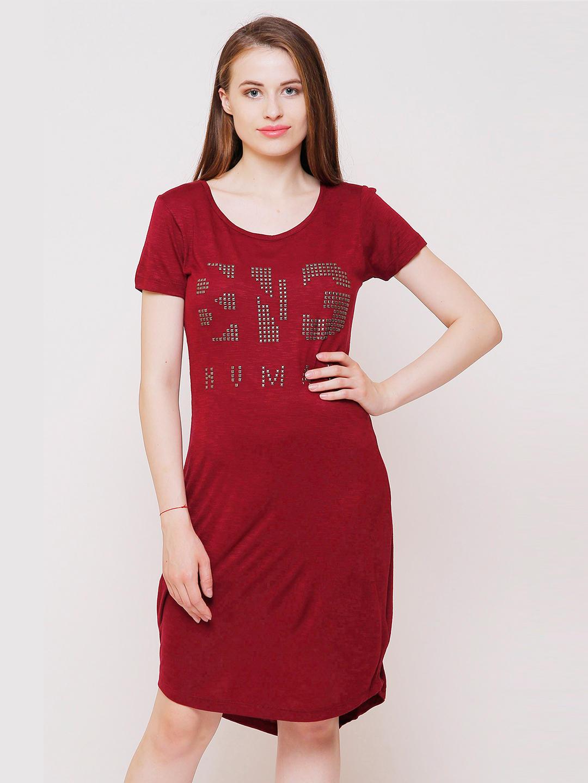 MAROON PRINTED SHIFT DRESS