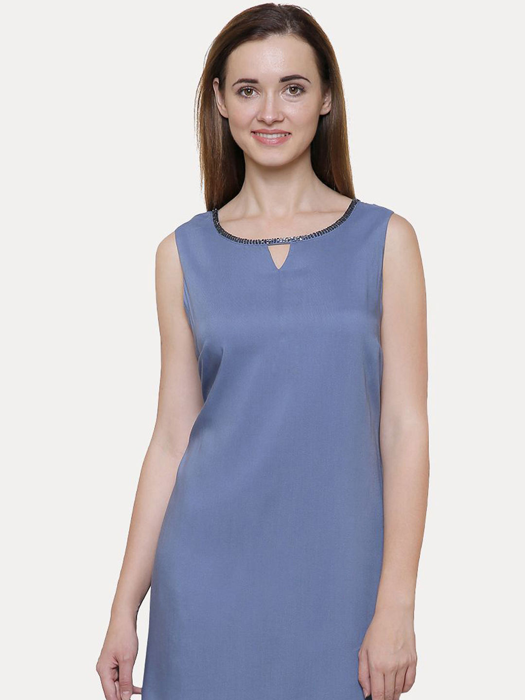 BLUE SOLID SHIFT DRESS