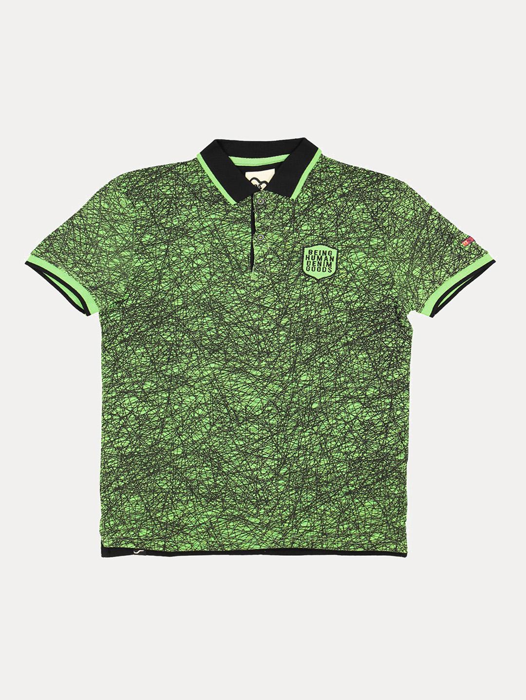 GREEN PRINTED POLO T-SHIRT