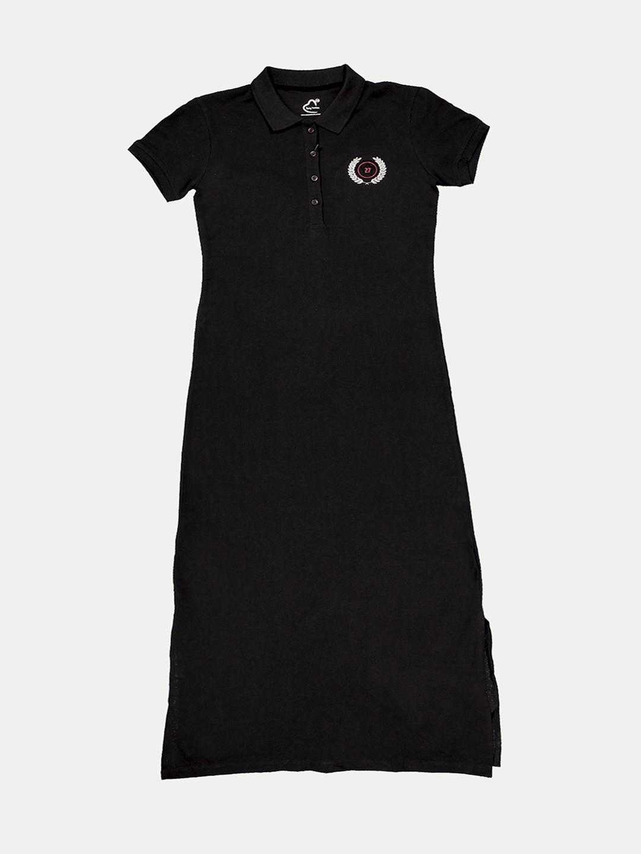 BLACK SOLID SHIRT DRESS