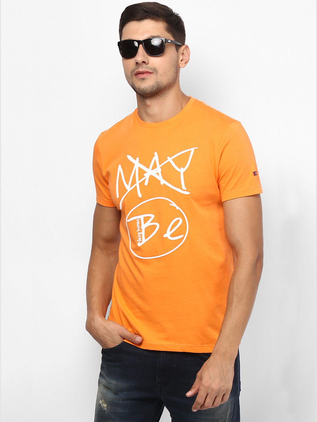 BRIGHT ORANGE PRINTED T-SHIRT