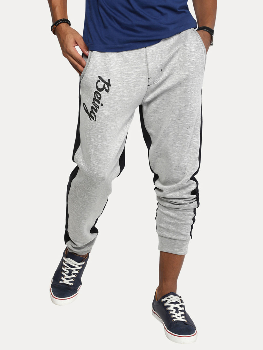 ECRU AND BLACK MELANGE JOGGERS