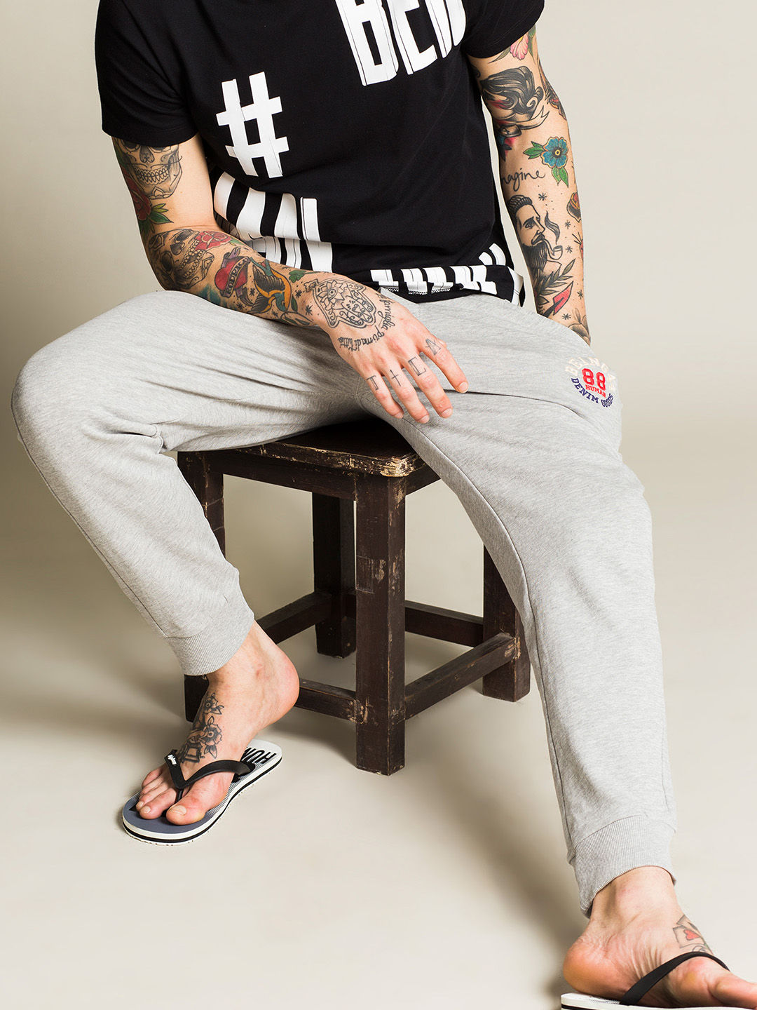 LIGHT GREY MELANGE JOGGERS