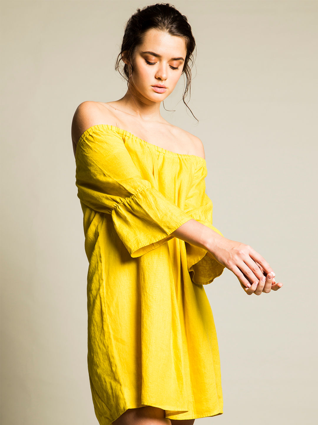 YELLOW SOLID OFF SHOULDER DRESS