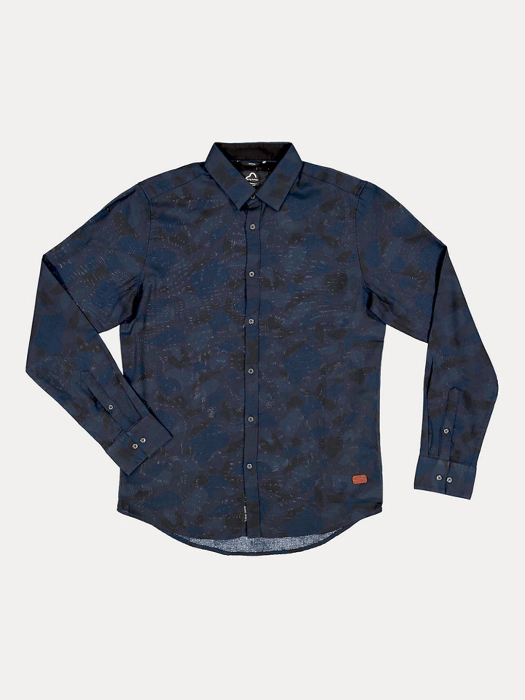 BLACK AND BLUE PRINTED CASUAL SHIRT