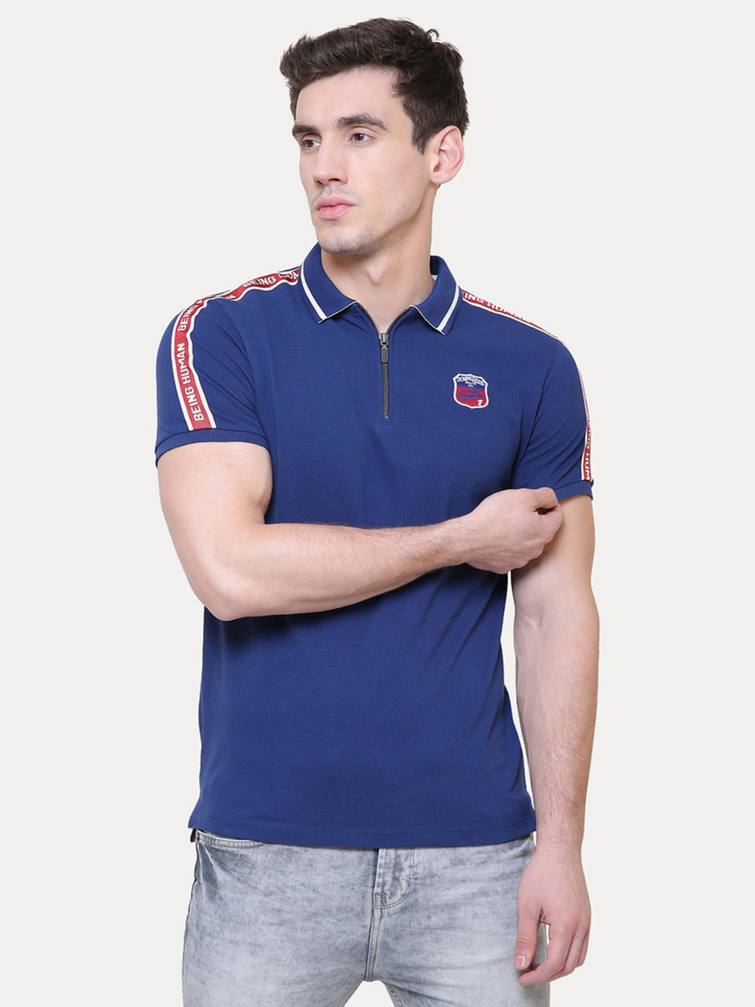 9a8207d5917 INK BLUE SOLID POLO T-SHIRT