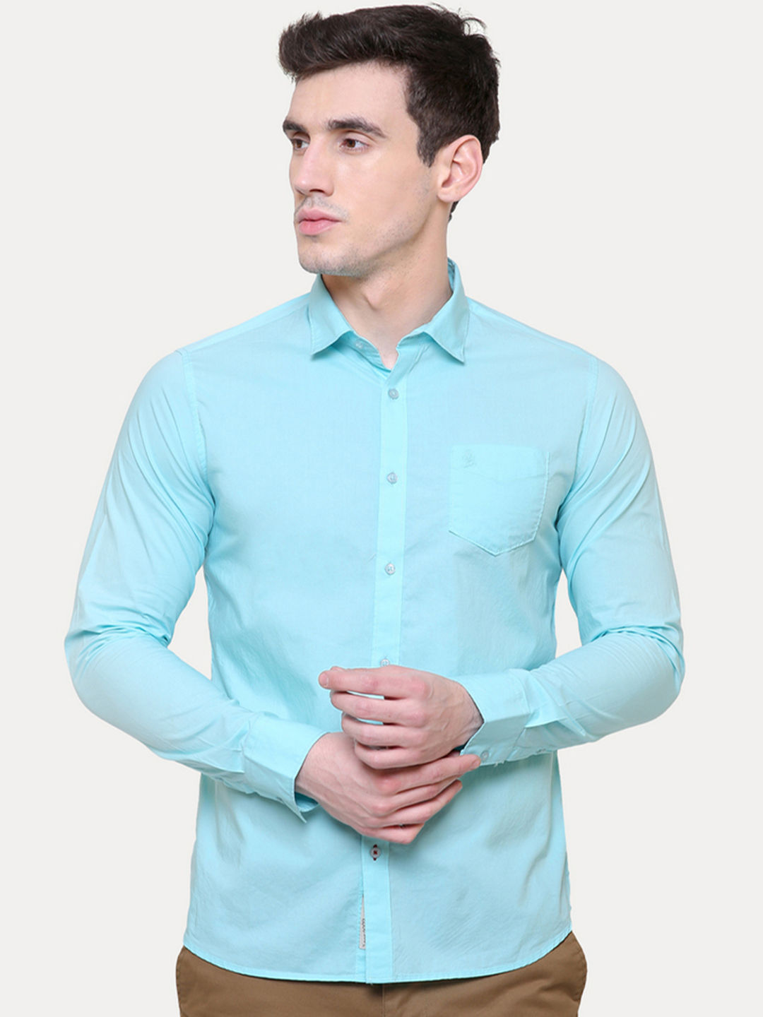 AQUA SOLID CASUAL SHIRT