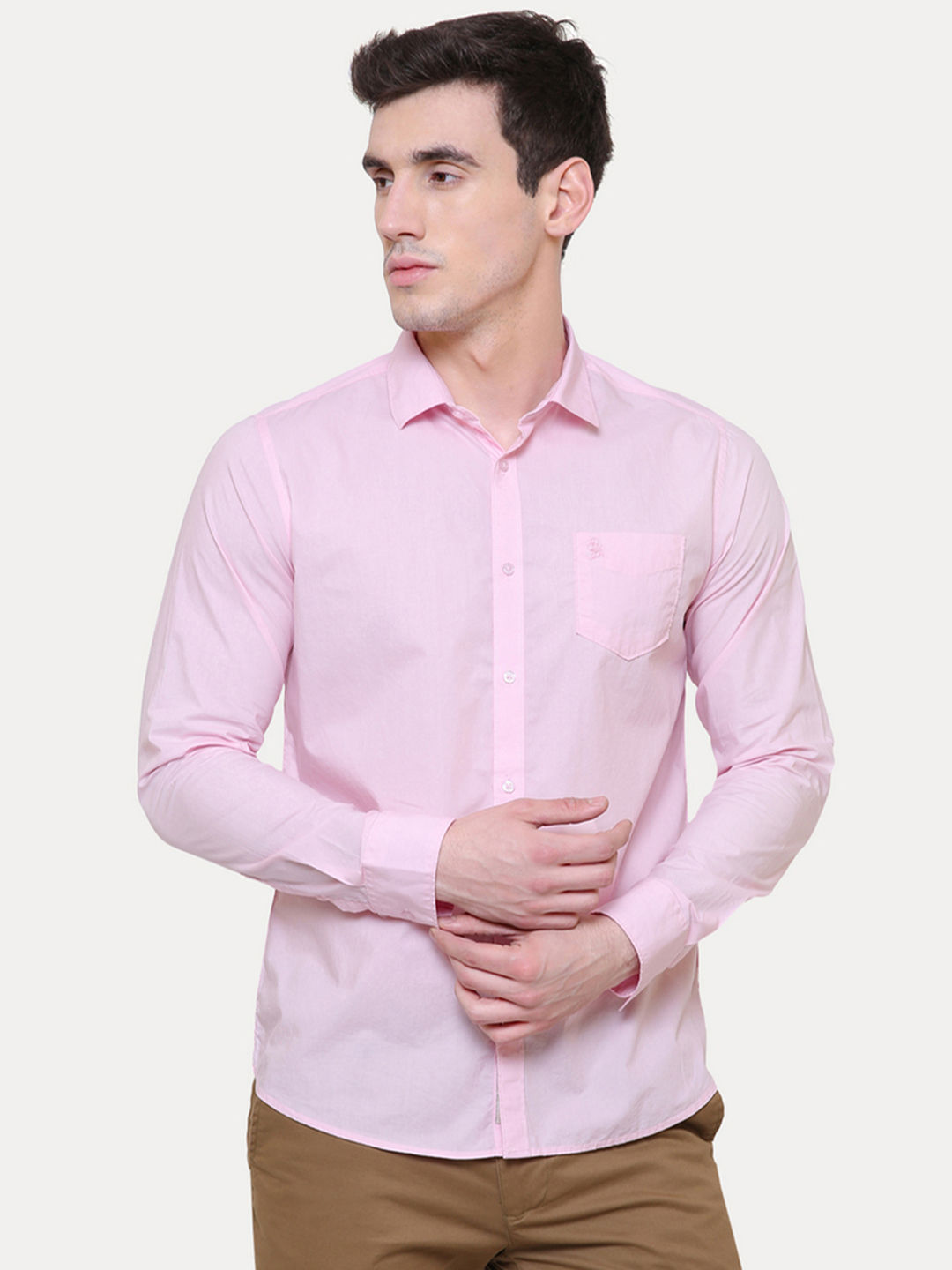 PINK SOLID CASUAL SHIRT
