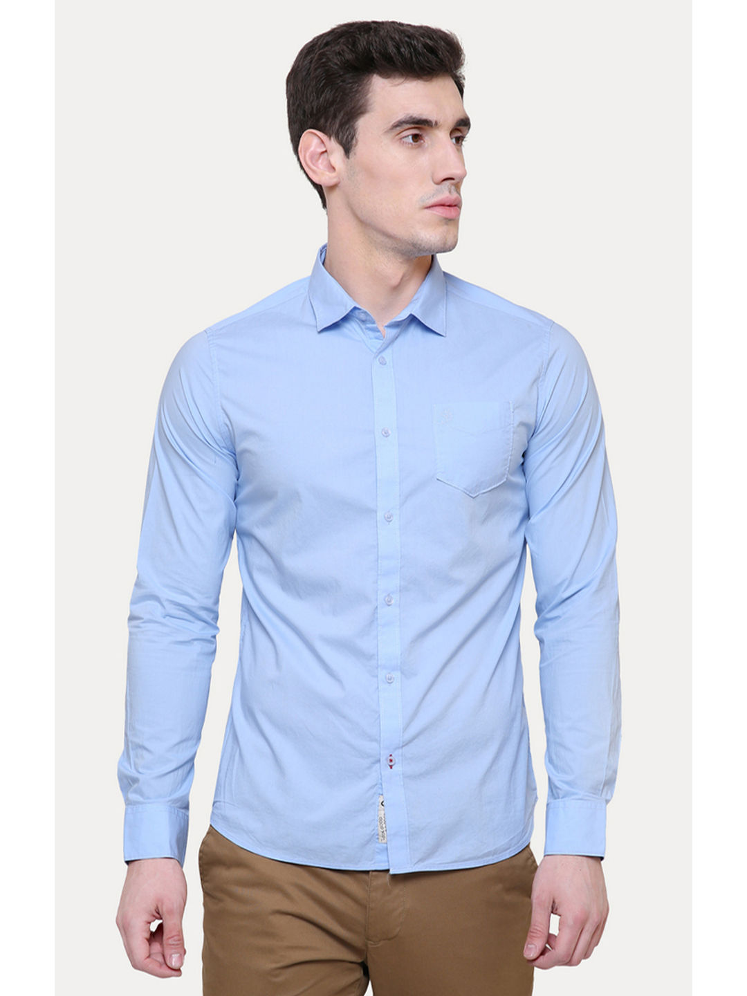SKY BLUE SOLID CASUAL SHIRT