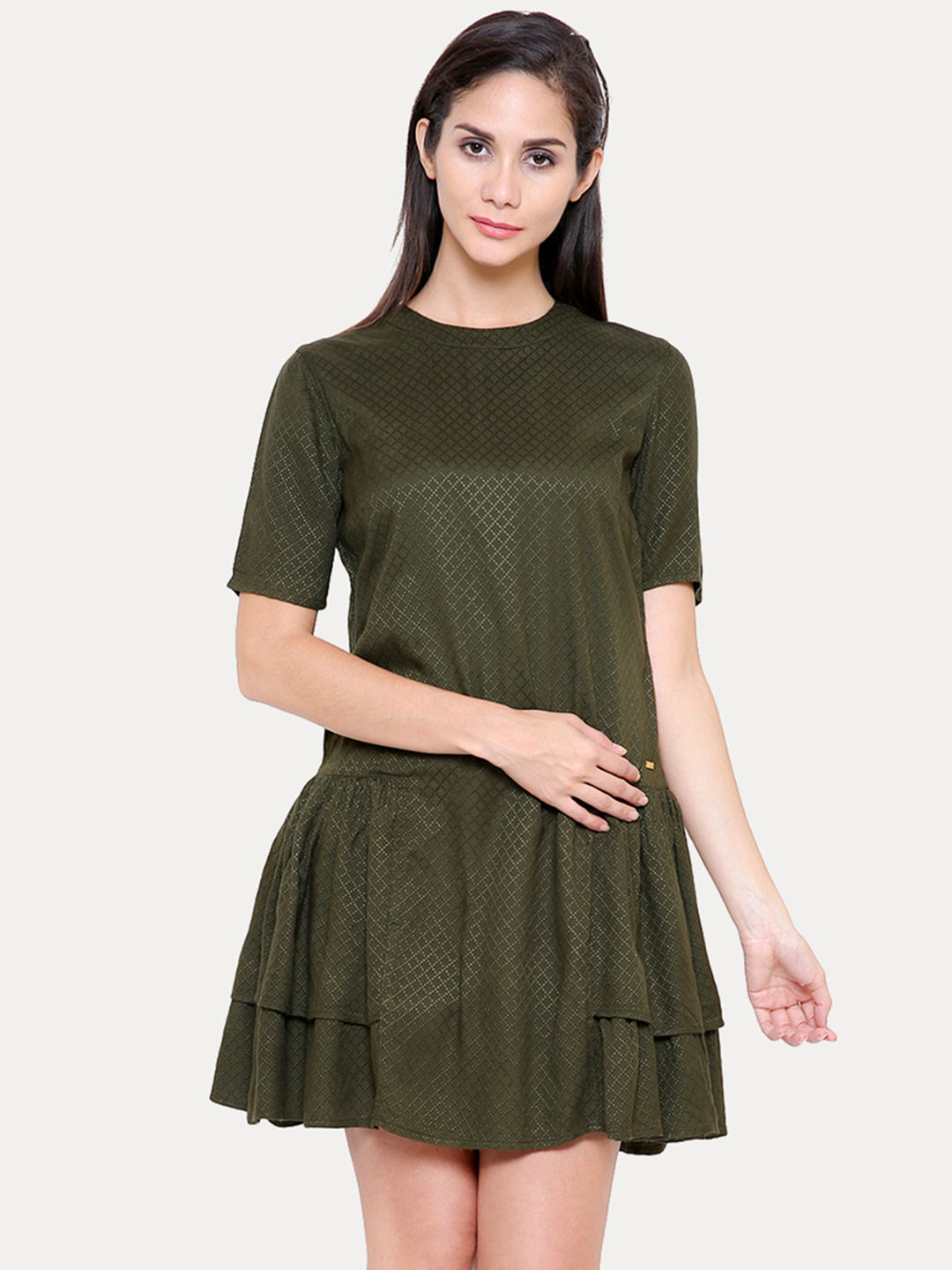 OLIVE SOLID SKATER DRESS