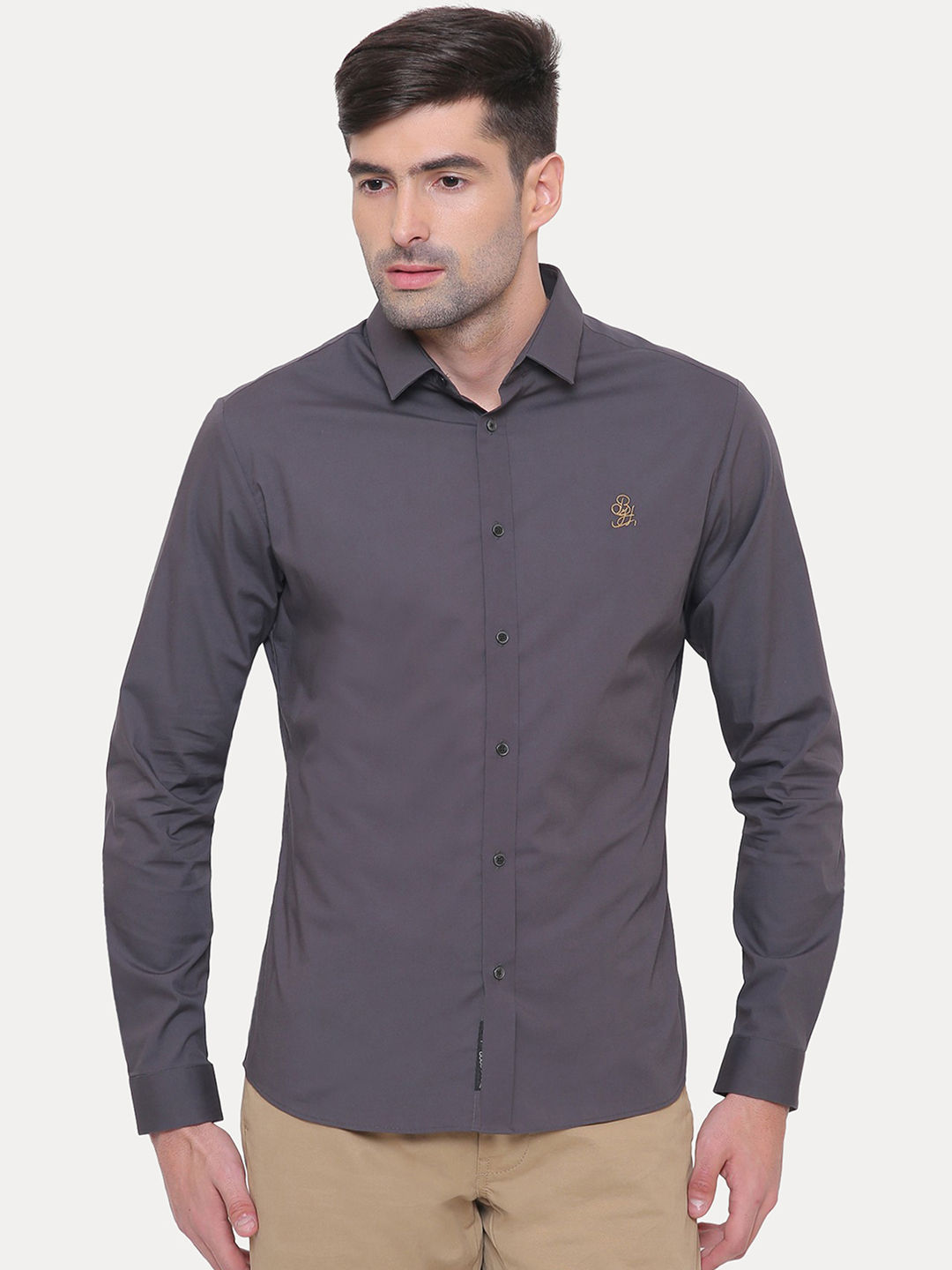 CHARCOAL SOLID STRETCH SHIRT