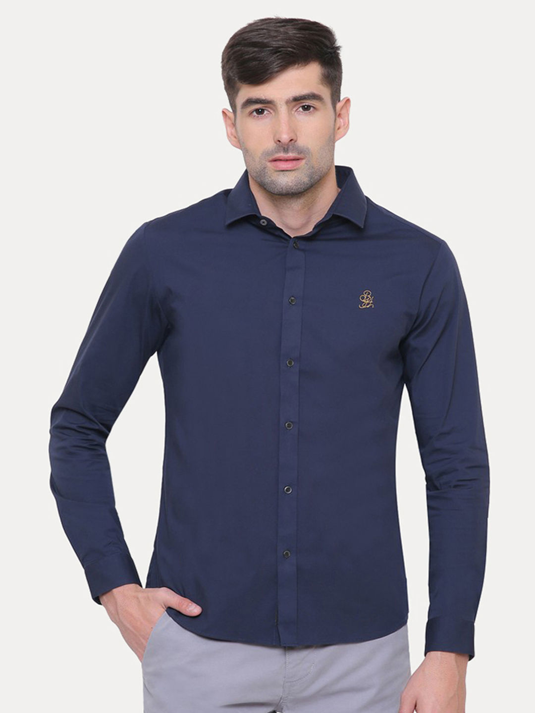 NAVY BLUE SOLID CASUAL SHIRT