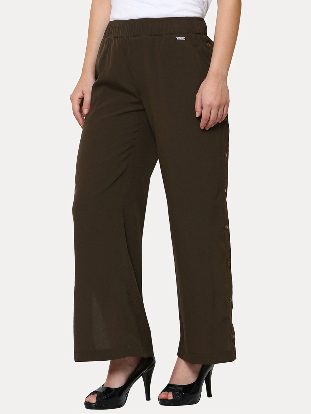 OLIVE SOLID PALAZZOS