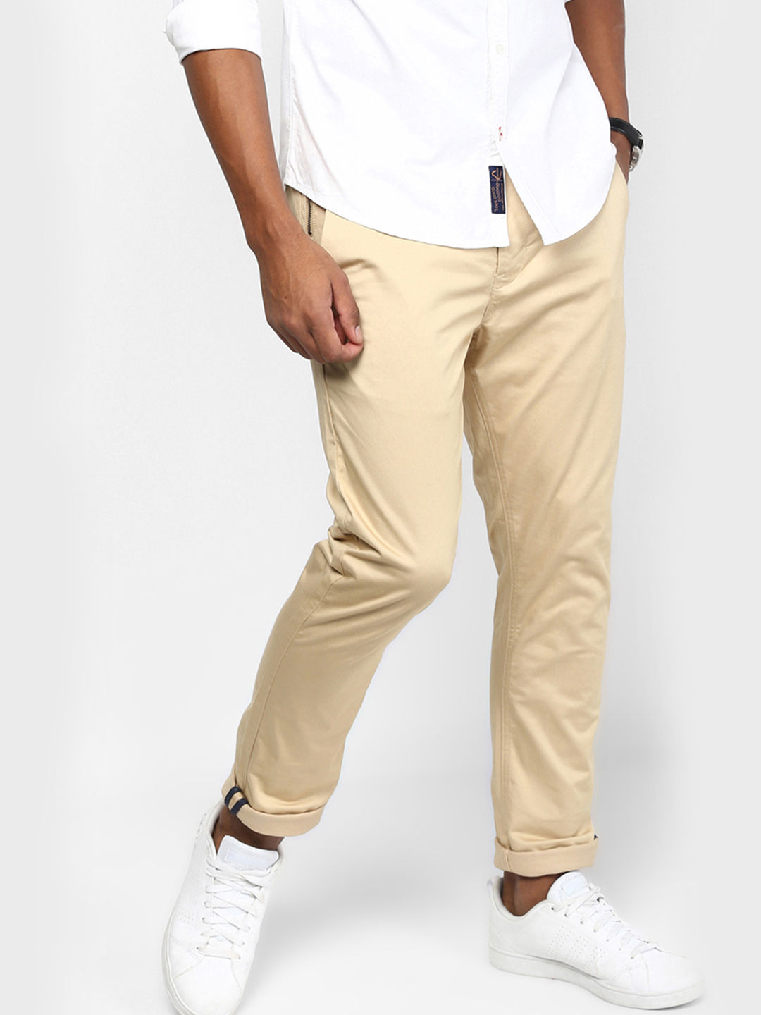 BEIGE SOLID STRAIGHT CHINOS
