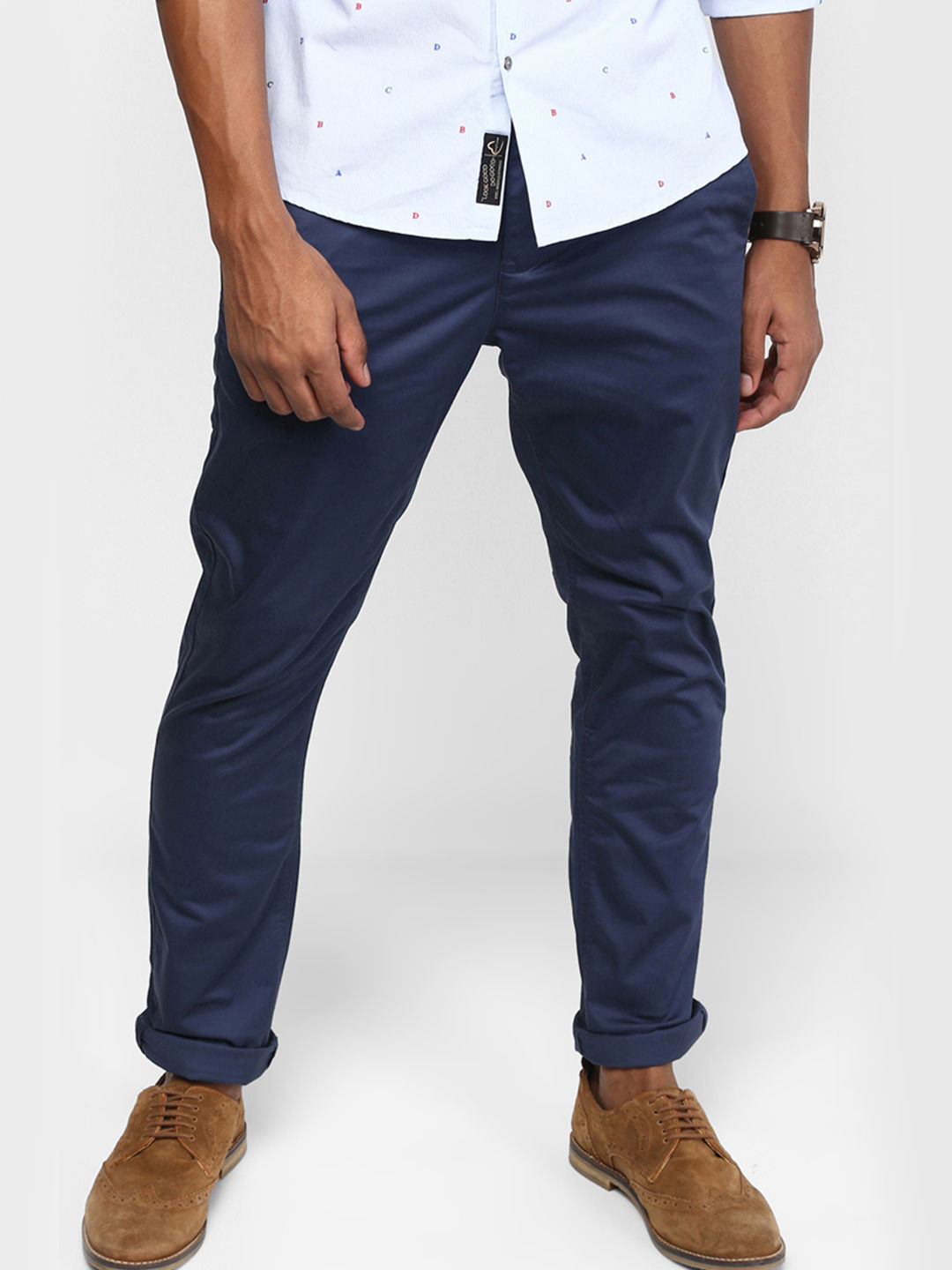 BLUE SOLID STRAIGHT CHINOS