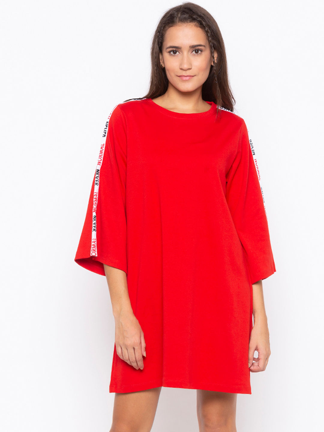 Disrupt Red A-Line Dress For Women's