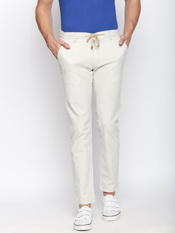 Disrupt Cream Cotton Regular Fit Joggers For Men's